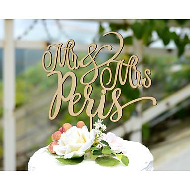 Kakepynt Personalisert Kort Papir Bryllup Gul Klassisk Tema Vintage Tema Rustikk Tema 1 Polyester Veske