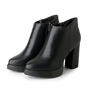 Damen Stiefel Modische Stiefel PU Herbst Winter Normal Modische Stiefel Blockabsatz Schwarz 5 - 7 cm