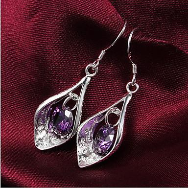Damen Tropfen-Ohrringe Zirkon versilbert Schmuck Für Hochzeit Party