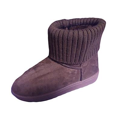 Damen-Stiefel-Lässig-PU-Niedriger Absatz-Komfort-Schwarz Grau Rosa Dunkelbraun