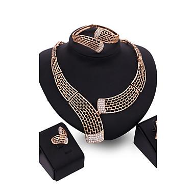 ジュエリーセット 合金 ゴールド 1×イヤリング(ペア) 1×ブレスレット ネックレス リング のために 結婚式 パーティー 1セット ウェディングギフト