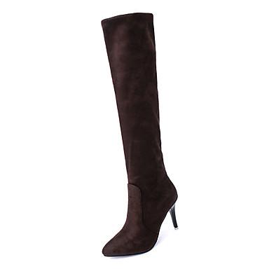 Damen-Stiefel-Outddor-PU-Stöckelabsatz-Komfort-Schwarz Grau Dunkelbraun