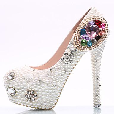 Mujer Zapatos PU Primavera / Verano Confort / Innovador Tacones Paseo Plataforma / Tacón de joya Dedo redondo Pedrería / Cristal / Perla