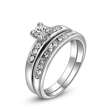 Damen Ring Modisch Doppelschicht Zirkon Diamantimitate Aleación Schmuck Für Alltag Normal