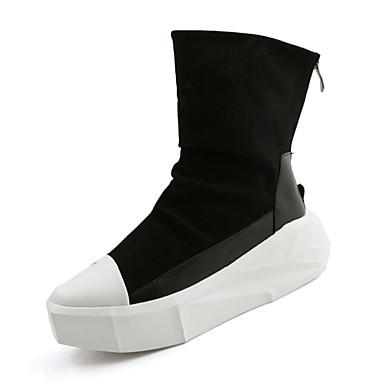Herren-Stiefel-Lässig-PU-Niedriger Absatz-Komfort-Schwarz Weiß