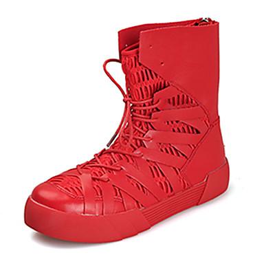 Herre sko PU Vår Høst Trendy støvler Komfort Støvler Svart Svart og Gull Rød