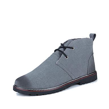 男性用 靴 PUレザー 冬 コンバットブーツ コンフォートシューズ ブーツ 編み上げ のために カジュアル ブラック グレー ブルー