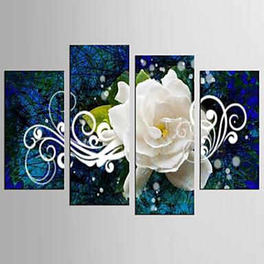 Abstrakti Kukkakuvio/Kasvitiede Klassinen European Style, 4 paneeli Kangas Mikä tahansa muoto Painettu Wall Decor Kodinsisustus