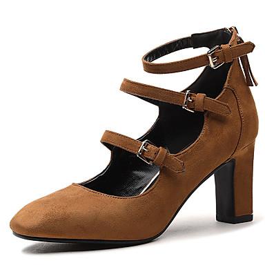 Damen Schuhe Kunstleder Frühling Sommer Komfort High Heels Blockabsatz Quadratischer Zeh Schnalle Für Hochzeit Normal Kleid Schwarz Khaki