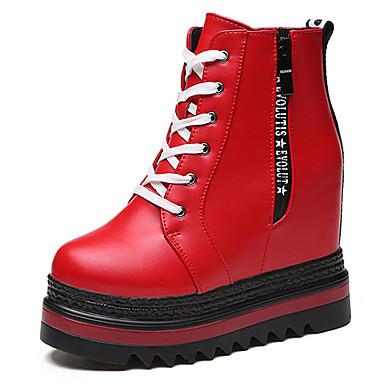 Damen Sneaker Creepers Modische Stiefel Kunstleder Winter Normal Creepers Modische Stiefel Reißverschluss Schnürsenkel CreepersWeiß