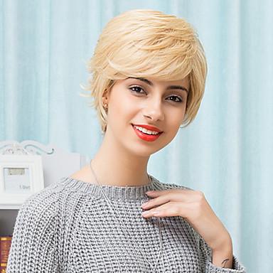 charmante Textur leicht blonde kurze deckellosen natürlichen gewellten Menschenhaarperücken
