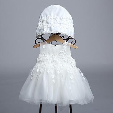Bebé Chica Noche Un Color Sin Mangas Poliéster Vestido Blanco