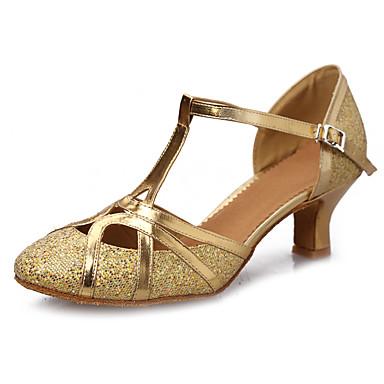 Mujer Zapatos de Baile Latino Lentejuelas / Cuero Patentado / Semicuero Sandalia Hebilla Tacón Cubano Personalizables Zapatos de baile