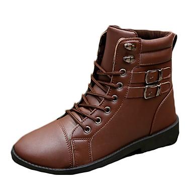 Bootsit-Tasapohja-Miesten-PU-Musta Ruskea-Rento-Comfort
