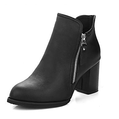 Damen Stiefel Komfort Springerstiefel PU Herbst Winter Normal Komfort Springerstiefel Reißverschluss Blockabsatz Schwarz Grün 7,5 - 9,5 cm