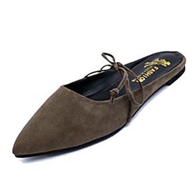 女性用 靴 フリース 秋 スリッパ&フリップ・フロップ フラットヒール 編み上げ ブラック / グレー