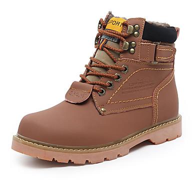 男性用 靴 繊維 春 秋 前かがみのブーツ コンフォートシューズ ブーツ 編み上げ のために スポーツ イエロー ライトブラウン ダークブラウン