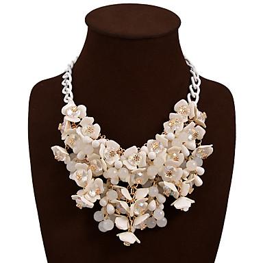 זול תכשיטים-בגדי ריקוד נשים שרשראות הצהרה פרח הצהרה בוהמי צ'אנקי שרף פלסטי סגסוגת אדום כחול קשת שרשראות תכשיטים עבור חתונה Party יום הולדת יומי אָהוּב