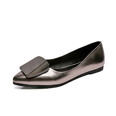 Damen-Flache Schuhe-Lässig-PU-Flacher Absatz-Komfort-Schwarz Grau Rot