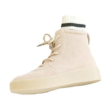 Damen-Stiefel-Outddor-PU-Flacher Absatz-Komfort-Schwarz Weiß