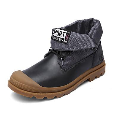 Herren Stiefel Komfort Modische Stiefel Leder Herbst Winter Normal Komfort Modische Stiefel Schnürsenkel Flacher AbsatzSchwarz
