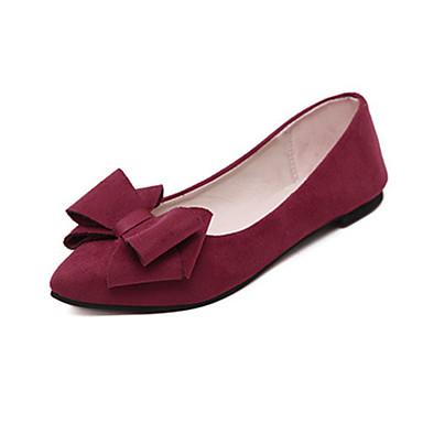 女性用 靴 フリース 秋 コンフォートシューズ フラット フラットヒール リボン ブラック / グレー / バーガンディー