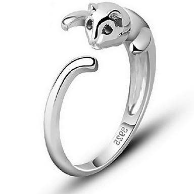 billige Motering-Dame Ring tommelfingerring Pussy Rings Sølv Sølv Legering damer Åpne Daglig Avslappet Smykker Kat Dyr Justerbar