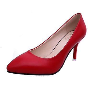 Damen-High Heels-Lässig-PU-StöckelabsatzWeiß Schwarz Rot