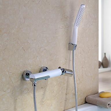 Badekarskran - Moderne Krom Badekar Og Dusj Keramisk Ventil / Enkelt håndtak To Huller