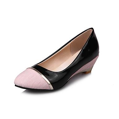 povoljno Ženske cipele-Žene Cipele na petu Poluga pete Wedge Heel Okrugli Toe Kombinacija materijala Lan / Lakirana koža Udobne cipele Planinarenje Proljeće / Ljeto / Jesen Crn / Pink / Sive boje