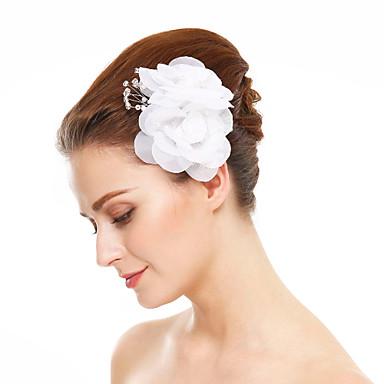 Chifon / Imitação de Pérola Flores com 1 Casamento / Ocasião Especial Capacete