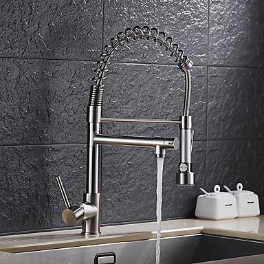 Kuhinja pipa - Jedan Ručka jedna rupa Nickel Brushed Pull-out / Pull-down Nadgradni umivaonik Suvremena / Art Deco / Retro / Moderna Kitchen Taps