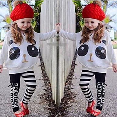 Χαμηλού Κόστους Ρούχα για Κορίτσια-Νήπιο Κοριτσίστικα Κινούμενα σχέδια Animal Print Στάμπα Μακρυμάνικο Κανονικό Βαμβάκι Πολυεστέρας Spandex Σετ Ρούχων Λευκό