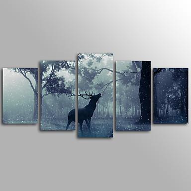Laminados en lienzo Animales Modern, Cinco Paneles Lona Horizontal Estampado Decoración de pared Decoración hogareña