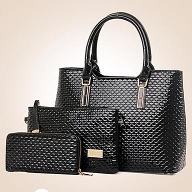 Women's Bags PU(Polyurethane) Bag Set Zipper / Flower Animal Fuchsia / Camel / Wine