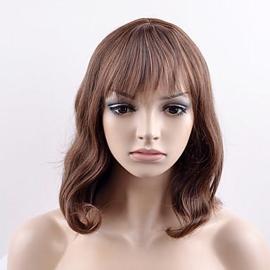 Syntetiske parykker Dame Rett Brun Syntetisk hår Brun Parykk Kort Lokkløs Beige
