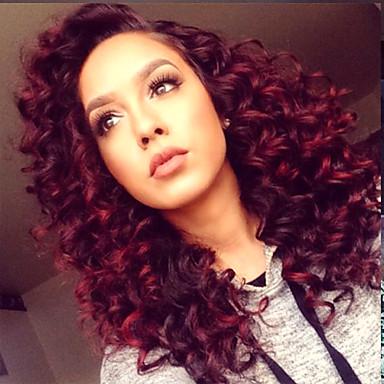 Peluca Lace Front Sintéticas Mujer Kinky Curly Rojo Pelo sintético Raíces oscuras / Entradas Naturales / Raya en medio Rojo Peluca Media Encaje Frontal Rojo