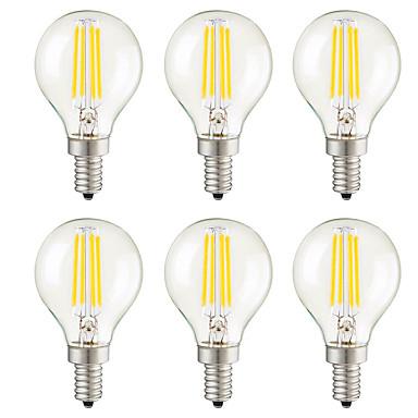 billige Elpærer-KWB 6pcs 3 W LED-glødepærer 400 lm E14 E12 E26 / E27 G45 4 LED perler COB Mulighet for demping Dekorativ Varm hvit 220-240 V 110-130 V / 6 stk. / RoHs