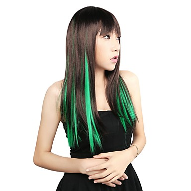 Neitsi 10pcs 18inch Colored Highlight Synthetic Clip on in Hair Extensions Green