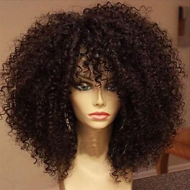 povoljno Perike i ekstenzije-Ljudska kosa Perika pune čipke bez ljepila Full Lace Perika stil Brazilska kosa Kinky Curly Perika 130% Gustoća kose s dječjom kosom Prirodna linija za kosu Afro-američka perika 100% rađeno rukom Žene