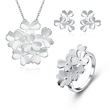 Prata Chapeada Conjunto de jóias Anéis / 1 Colar / 1 Par de Brincos - Prata Para Casamento / Diário / Casual