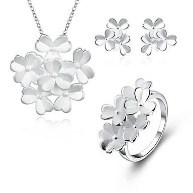 Plateado Conjunto de joyas Anillos / 1 Collar / 1 Par de Pendientes - Plata Para Boda / Diario / Casual