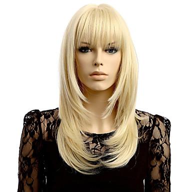Peruki Syntetyczne Prosta Blond Fryzura Cieniowana Z