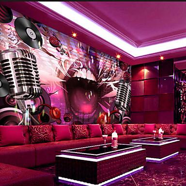 Floral Art Decó 3D Decoración hogareña Moderno Revestimiento de pared, Lona Material adhesiva requerida Mural, Revestimiento de paredes