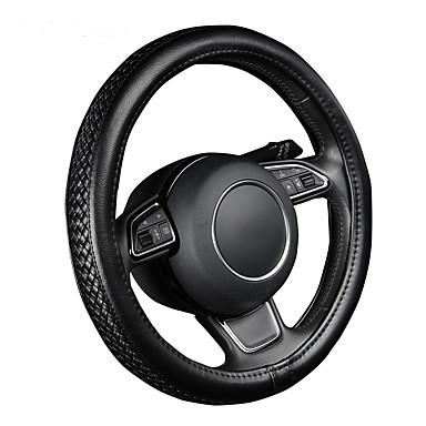 voordelige Auto-interieur accessoires-autoyouth pu lederen stuurwiel hoes zwart lychee patroon met anti-slip vlechten stijl m size fits 38cm / 15 diameter