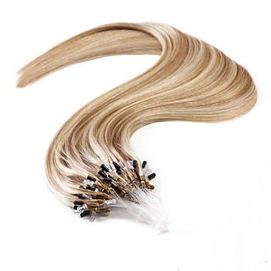 Micro Extensão em Anel Extensões de cabelo humano Liso Cabelo Humano Mulheres Diário