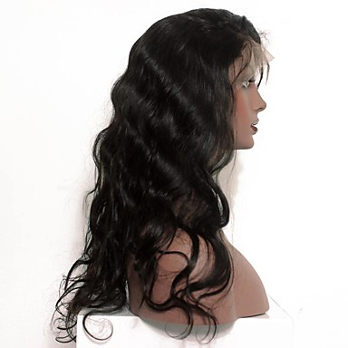 Cabelo Humano Frente de Malha Peruca Onda Profunda 120% Densidade Riscas Naturais / Peruca Afro Americanas / 100% Feita a Mão Mulheres Curto / Médio / Longo Perucas de Cabelo Natural