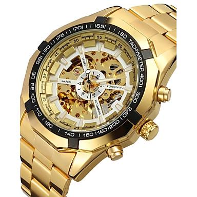 FORSINING Herrn Armbanduhr / Mechanische Uhr Transparentes Ziffernblatt Edelstahl Band Luxus / Modisch Gold / Automatikaufzug