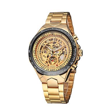voordelige Herenhorloges-WINNER Heren Skeleton horloge Polshorloge mechanische horloges Automatisch opwindmechanisme Roestvrij staal Goud 30 m Waterbestendig Hol Gegraveerd Lichtgevend Analoog Luxe Vintage zin in hebben -