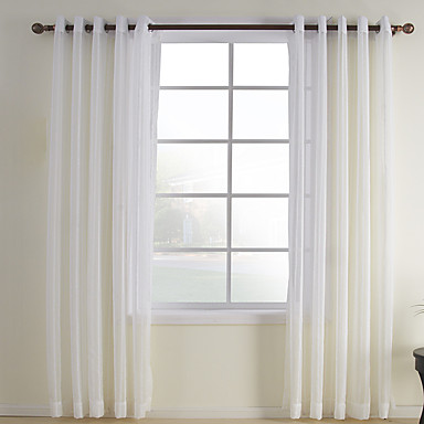 Sheer Curtains Shades Bedroom Plaid / Check Polyester / Cotton Blend Polyester Jacquard
